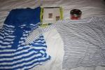 Mango-klänning, Muji-notebooks, obligatorisk randig tröja och Kusmi-te